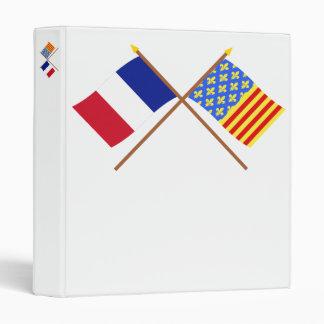 Crossed flags of France and Lozère 3 Ring Binders