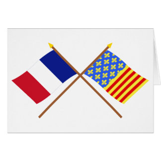Crossed flags of France and Lozère Greeting Cards
