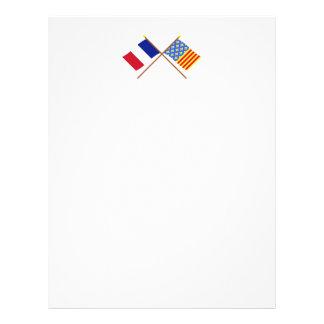 Crossed flags of France and Lozère Custom Letterhead
