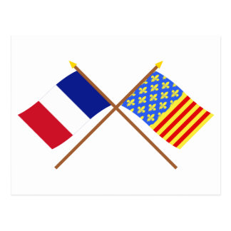 Crossed flags of France and Lozère Post Cards