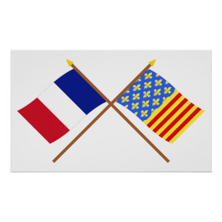 Crossed flags of France and Lozère Posters