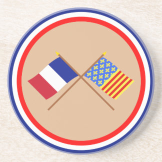 Crossed flags of France and Lozère Sandstone Coaster