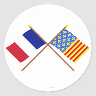 Crossed flags of France and Lozère Stickers