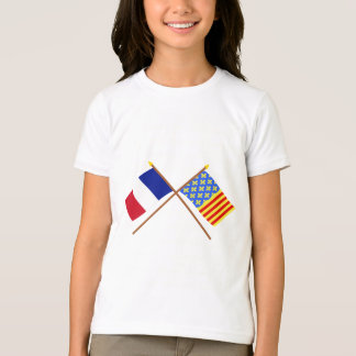 Crossed flags of France and Lozère T-Shirt