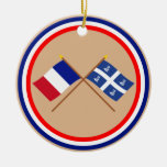Crossed flags of France and Martinique Double-Sided Ceramic Round Christmas Ornament