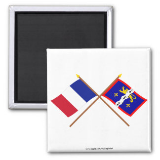 Crossed flags of France and Mayenne Refrigerator Magnets