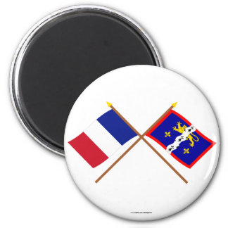 Crossed flags of France and Mayenne Refrigerator Magnet