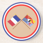 Crossed flags of France and Moselle Coaster