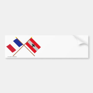 Crossed flags of France and New Caledonia Bumper Sticker