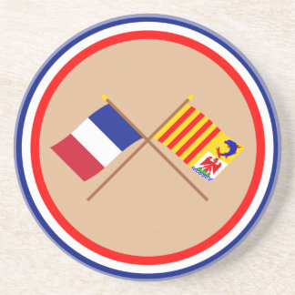Crossed flags of France and PACA Beverage Coaster