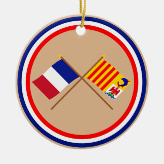 Crossed flags of France and PACA Double-Sided Ceramic Round Christmas Ornament