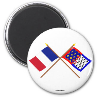 Crossed flags of France and Pays-de-la-Loire 2 Inch Round Magnet