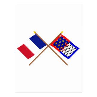 Crossed flags of France and Pays-de-la-Loire Postcard