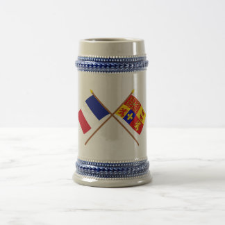Crossed flags of France and Pyrénées-Atlantiques Beer Stein