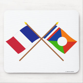 Crossed flags of France and Réunion (Local) Mouse Pad