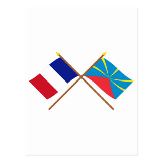 Crossed flags of France and Réunion (Proposed) Postcard