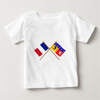 Crossed flags of France and Rhône-Alpes Baby T-Shirt