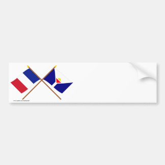 Crossed flags of France and Saint-Martin Bumper Sticker