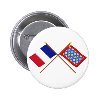 Crossed flags of France and Sarthe Pin