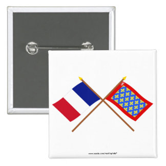 Crossed flags of France and Sarthe Pinback Button