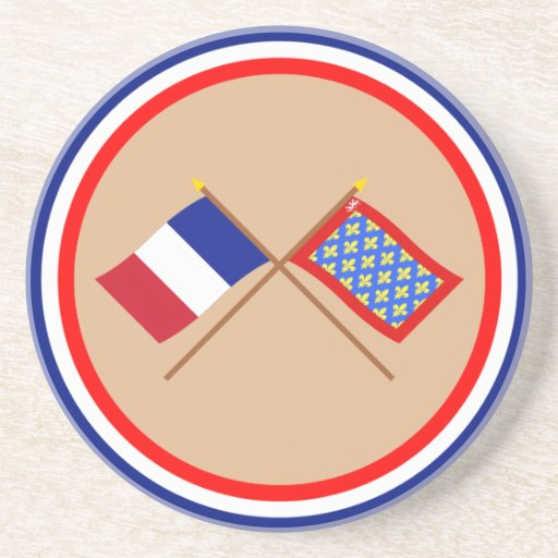 Crossed flags of France and Sarthe Beverage Coasters