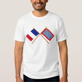 Crossed flags of France and Sarthe T-shirt