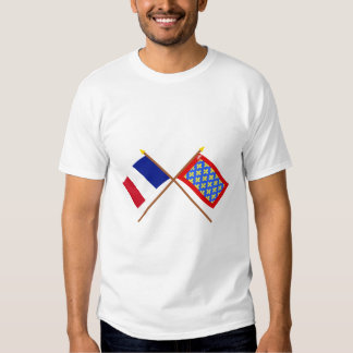 Crossed flags of France and Sarthe Tee Shirts
