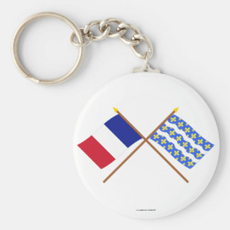 Crossed flags of France and Seine-et-Marne Basic Round Button Keychain