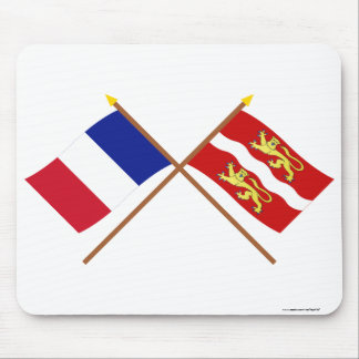 Crossed flags of France and Seine-Maritime Mouse Pad