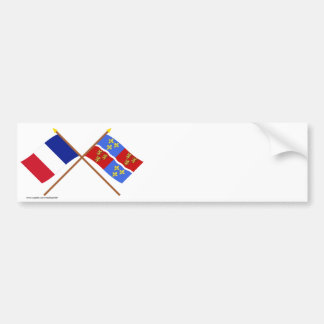 Crossed flags of France and Somme Car Bumper Sticker