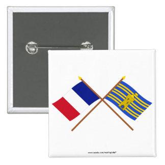 Crossed flags of France and Territoire de Belfort Pin