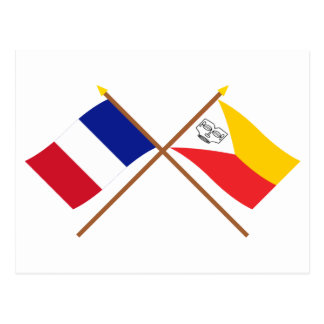 Crossed flags of France and the Marquesas Islands Postcard