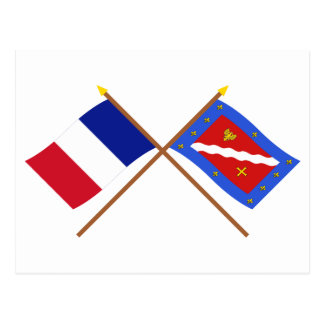 Crossed flags of France and Val-d'Oise Postcard