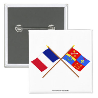 Crossed flags of France and Vaucluse Pin