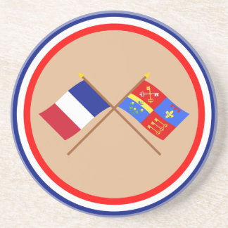Crossed flags of France and Vaucluse Beverage Coaster