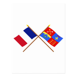 Crossed flags of France and Vaucluse Postcard