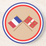 Crossed flags of France and Vienne Beverage Coasters