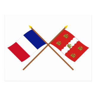 Crossed flags of France and Vienne Postcard