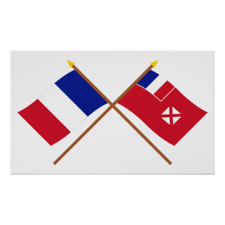 Crossed flags of France and Wallis and Futuna Poster