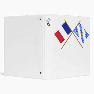 Crossed flags of France and Yvelines 3 Ring Binder