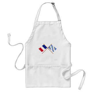 Crossed flags of France and Yvelines Adult Apron