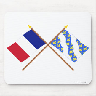 Crossed flags of France and Yvelines Mouse Pad