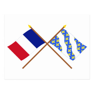 Crossed flags of France and Yvelines Postcard