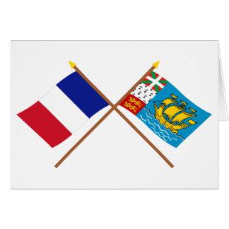 Crossed flags of France & Saint-Pierre et Miquelon Card