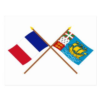 Crossed flags of France & Saint-Pierre et Miquelon Postcard