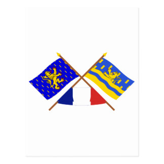 Crossed flags of Franche-Comté and Doubs Postcard