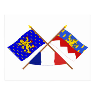 Crossed flags of Franche-Comté and Jura Postcard