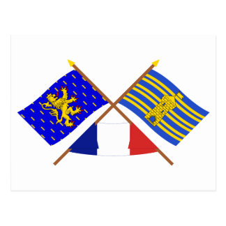 Crossed flags of Franche-Comté and Terr. Belfort Postcard