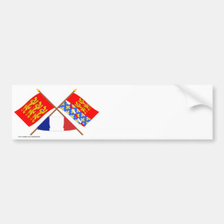 Crossed flags of Haute-Normandie and Eure Bumper Sticker