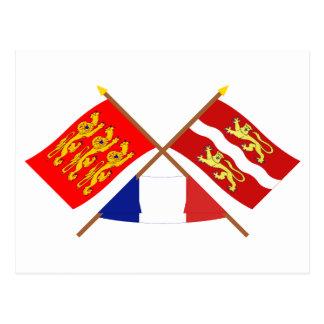 Crossed flags of Haute-Normandie & Seine-Maritime Postcard